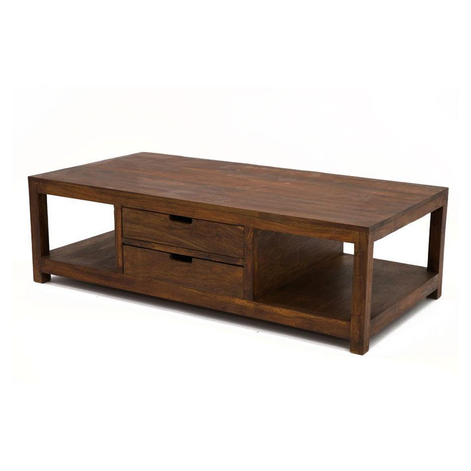 Table basse palissandre deux tiroirs traversants loft for Table basse palissandre