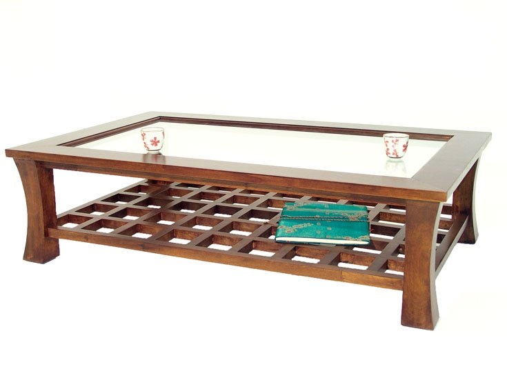 table basse rectangulaire avec plateau en verre jorg 5392. Black Bedroom Furniture Sets. Home Design Ideas