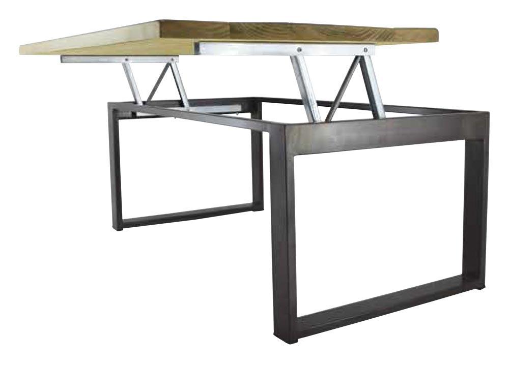 table basse relevable de style industriel plateaux bois. Black Bedroom Furniture Sets. Home Design Ideas