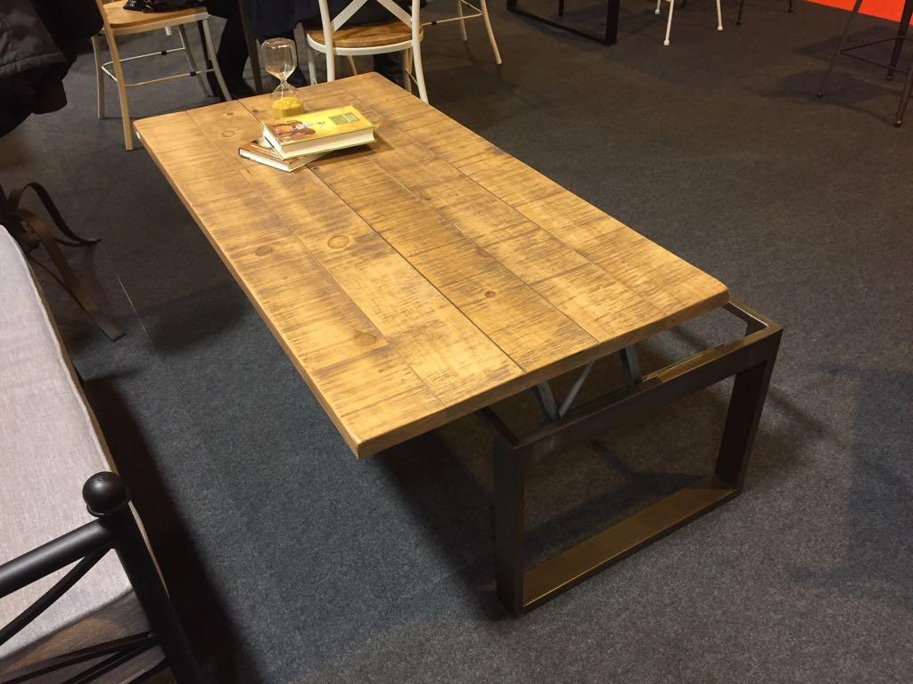 Table Basse Relevable De Style Industriel Plateaux Bois En Option Modele Mirage