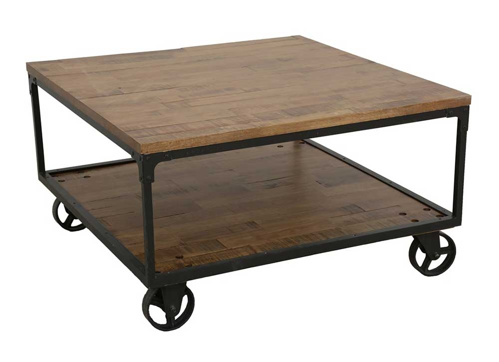 table basse industrielle roulettes. Black Bedroom Furniture Sets. Home Design Ideas