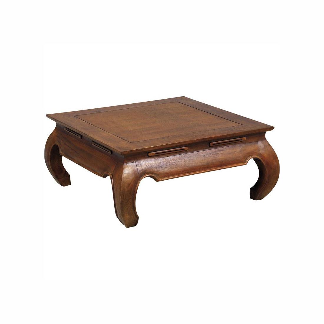Table basse opium en teck 80 cm - Table basse maison coloniale ...