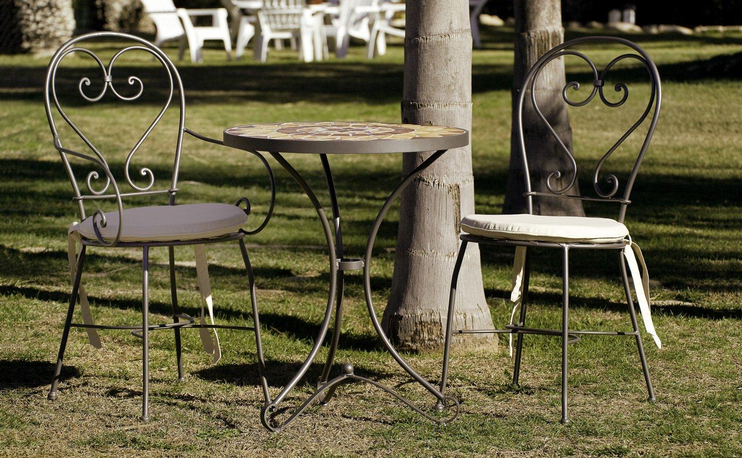 Table d\'appoint jardin en fer forgé et zellige pierre naturelle 60x70