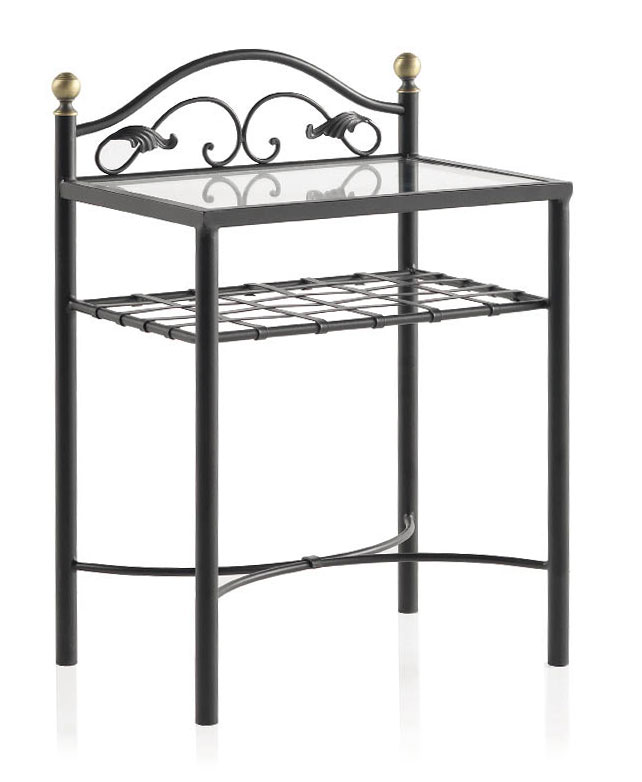 Table de nuit personnalisable fer forg m tal wilza 6131 - Table de chevet fer forge ...