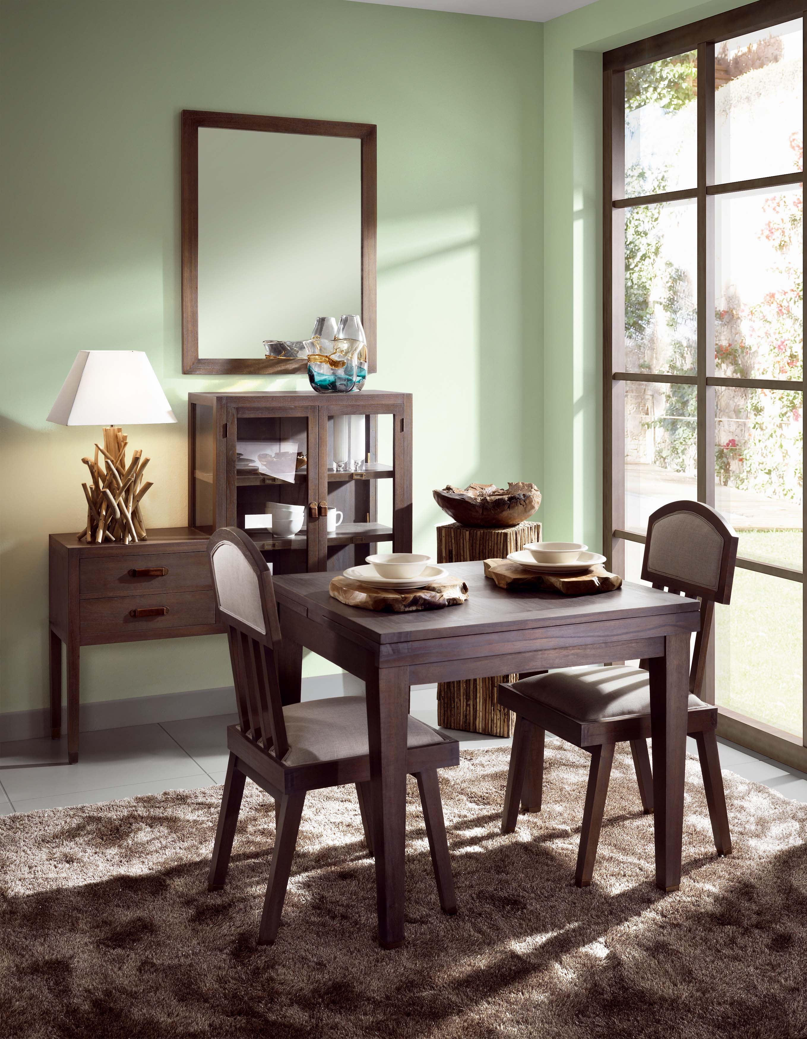 Table de repas grise avec rallonges grande tabl e collection tana - Table grise avec rallonge ...