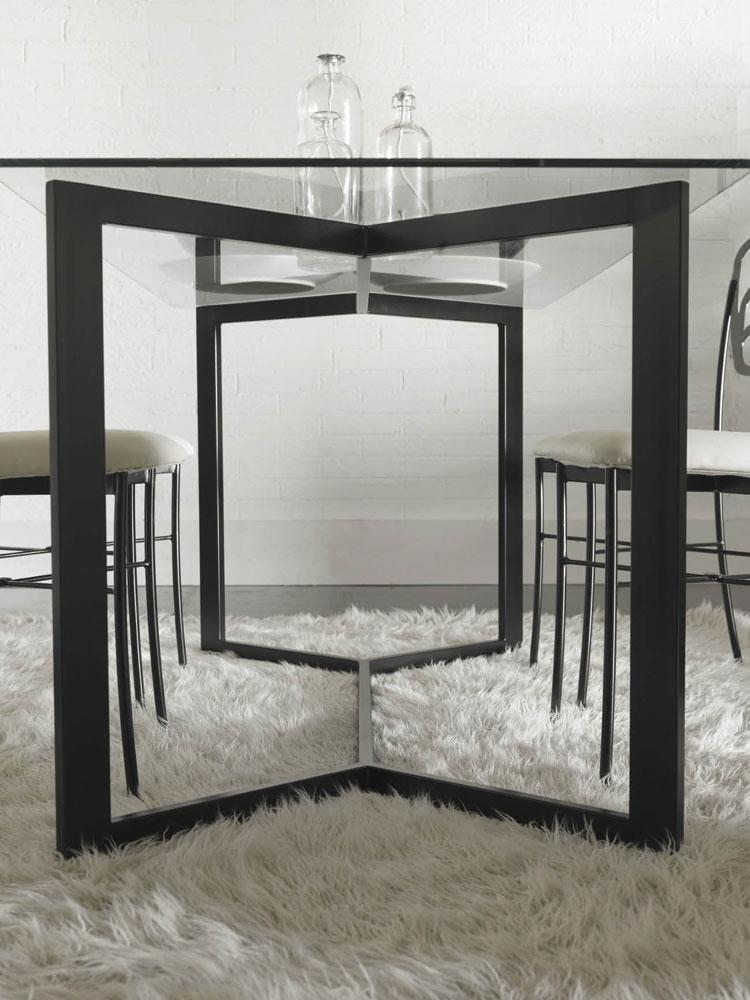 Table m tal et verre design style contemporain yougg 5936 - Pied de table contemporain ...