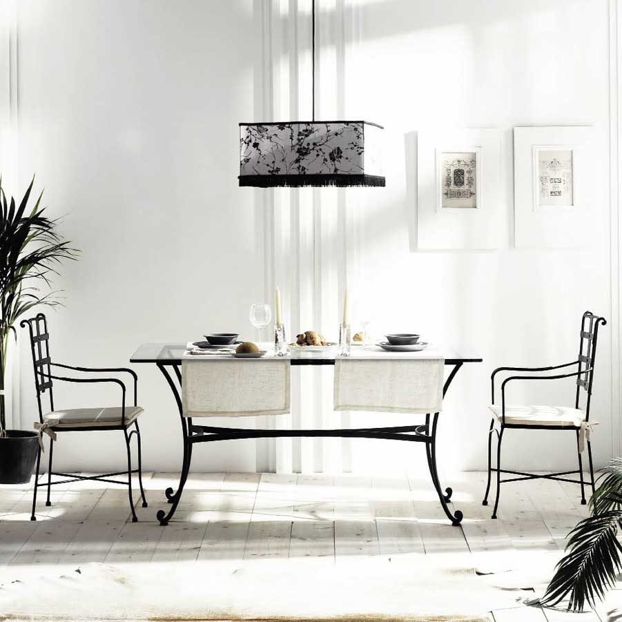 table salle manger en m tal et verre milan 6276. Black Bedroom Furniture Sets. Home Design Ideas