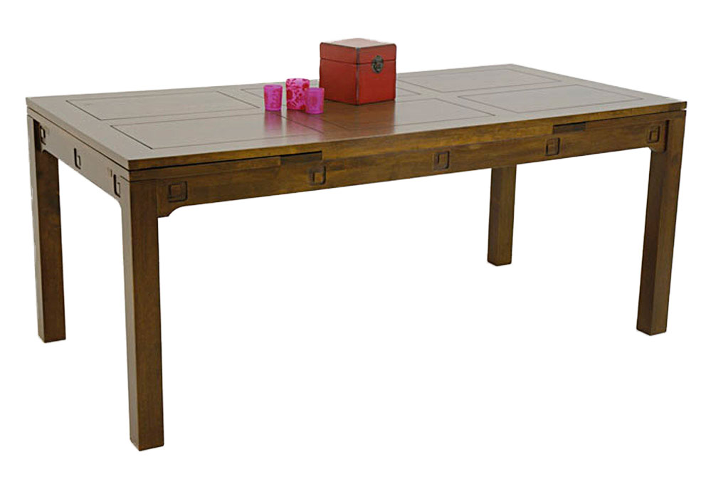 table repas en bois 180 cm avec 2 rallonges de 40 cm 5939. Black Bedroom Furniture Sets. Home Design Ideas