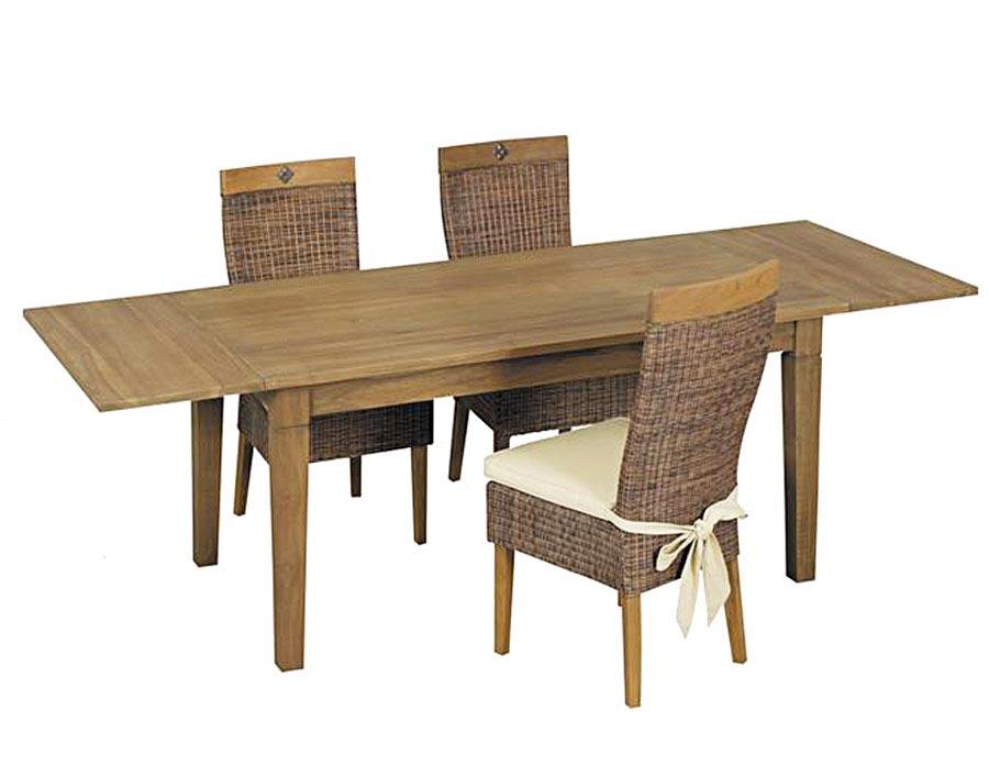 Table salle manger teck cir avec allonges 5295 for Table de salle a manger 14 personnes