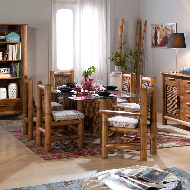 table repas exotique en bambou miel tropicana. Black Bedroom Furniture Sets. Home Design Ideas