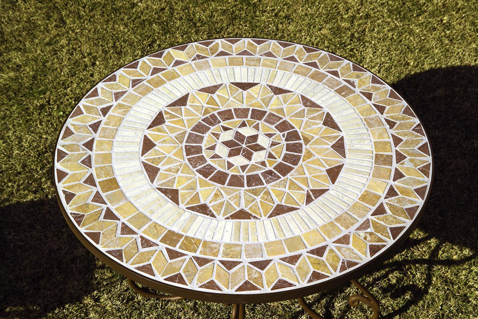 Table ronde en fer forgé et plateau zellige pierre naturelle