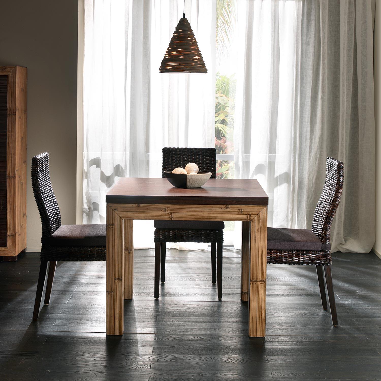 Table Salle A Manger Avec Rallonge Depliante En Bambou Et Bois Exotique Bicolore Miel Antique Et Wenge Collection Indah