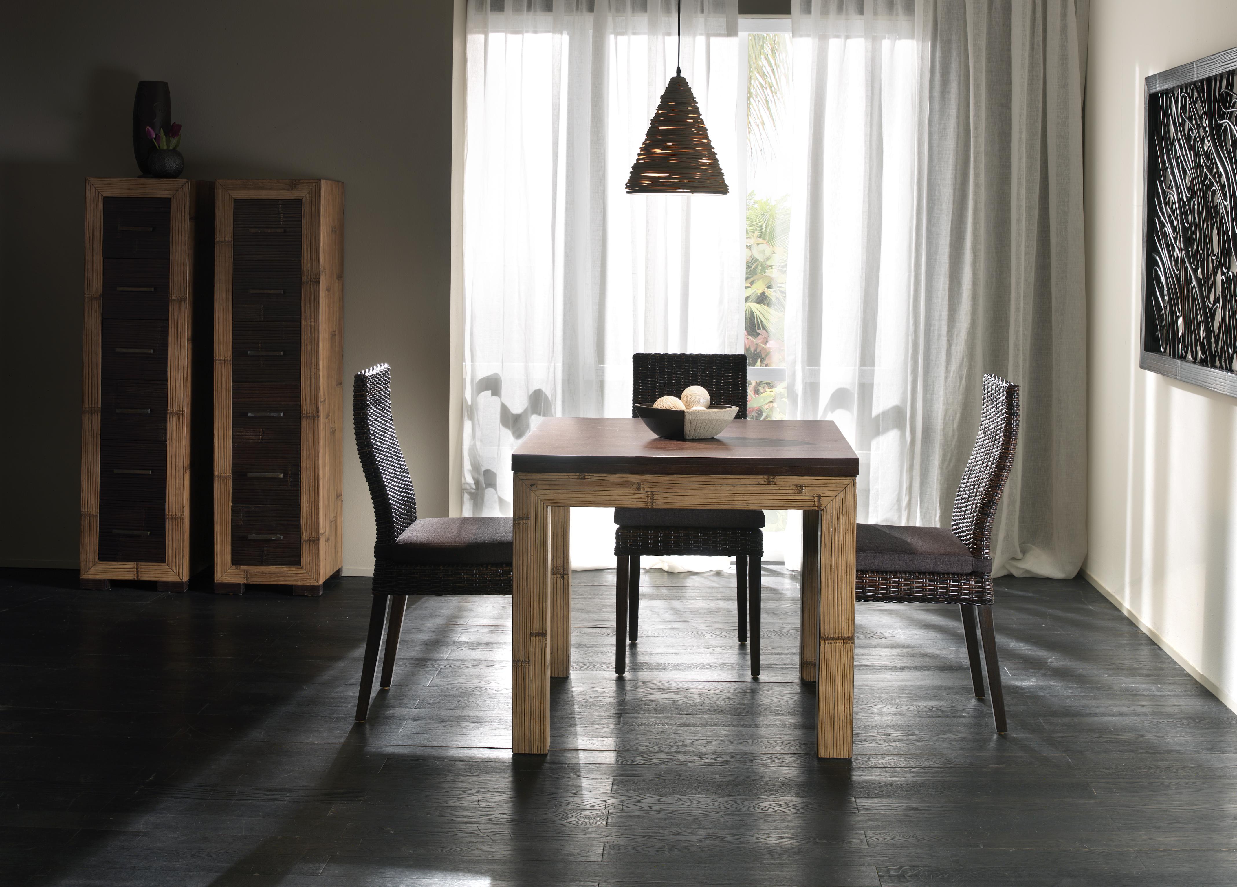 Table salle manger avec rallonge d pliante en bambou et for Table salle a manger wenge avec rallonge
