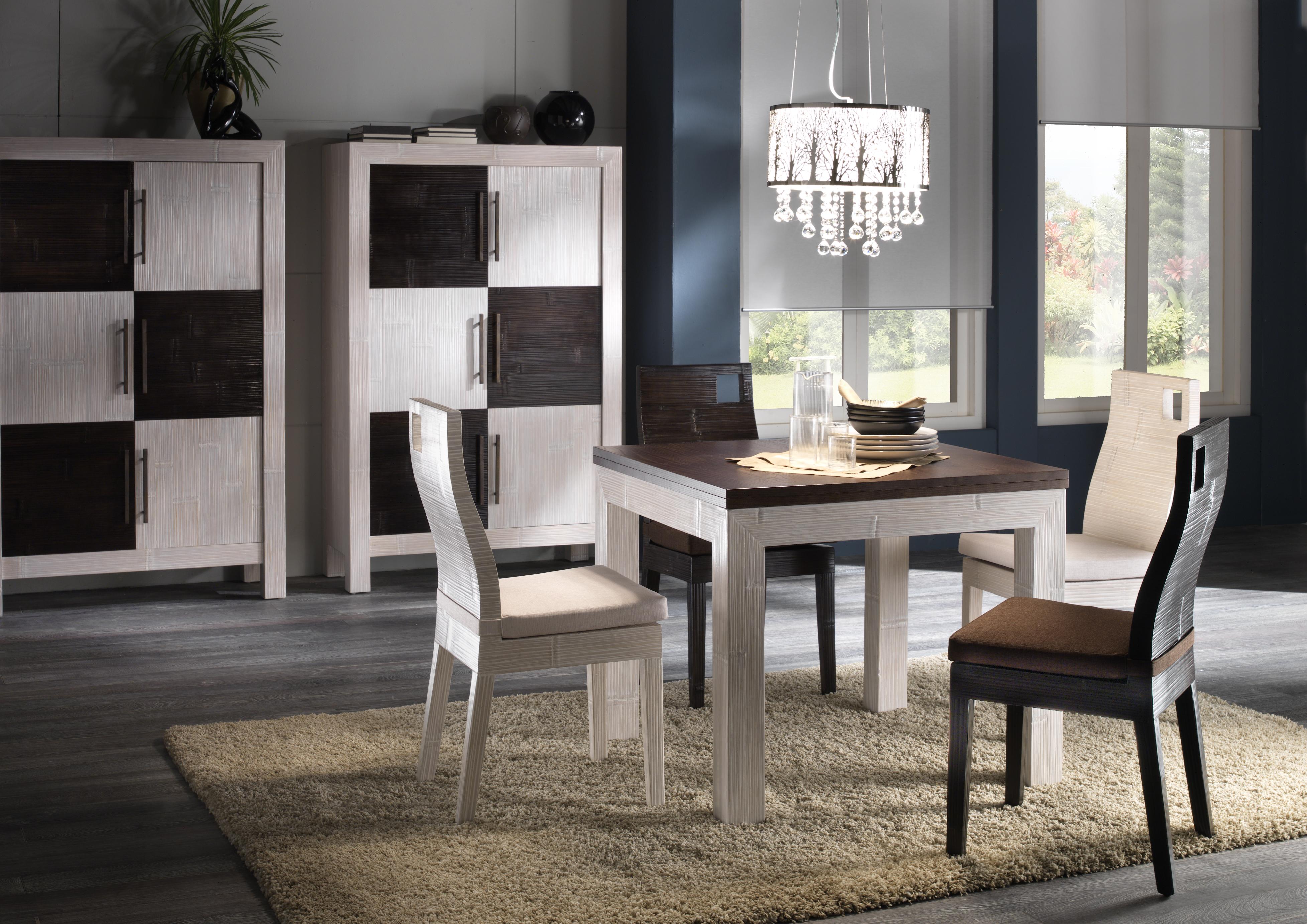 Table salle à manger avec rallonge dépliante, en bambou et bois ...