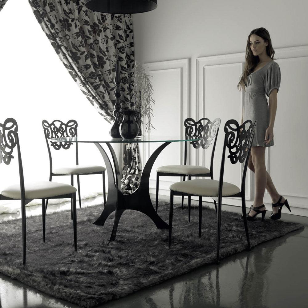 Table de salle manger design m tal verre et acier puriak - Table design salle a manger ...