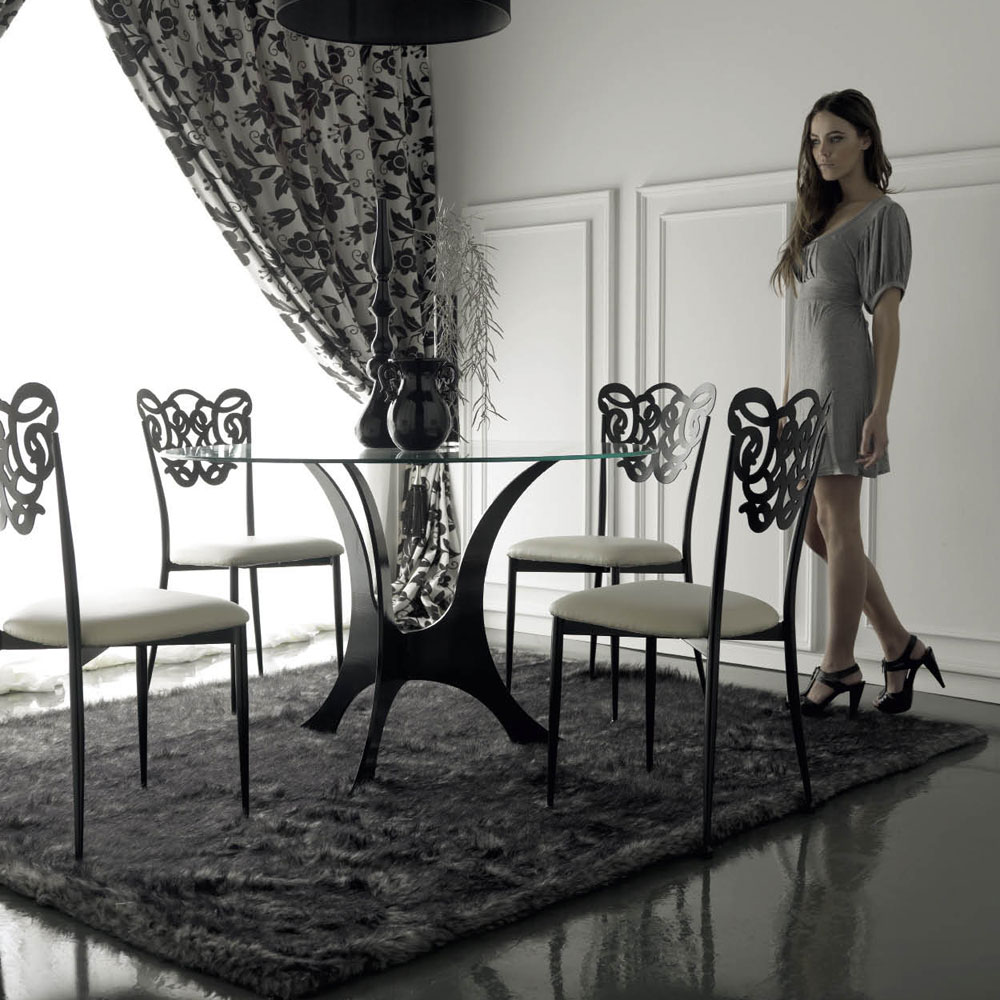 Table de salle manger design m tal verre et acier puriak for Table salle a manger fer forge design