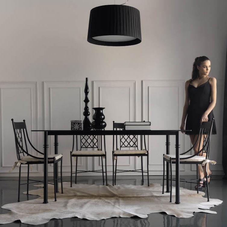 La table en m tal rectangulaire pour une d coration d for Meuble salle a manger fer forge