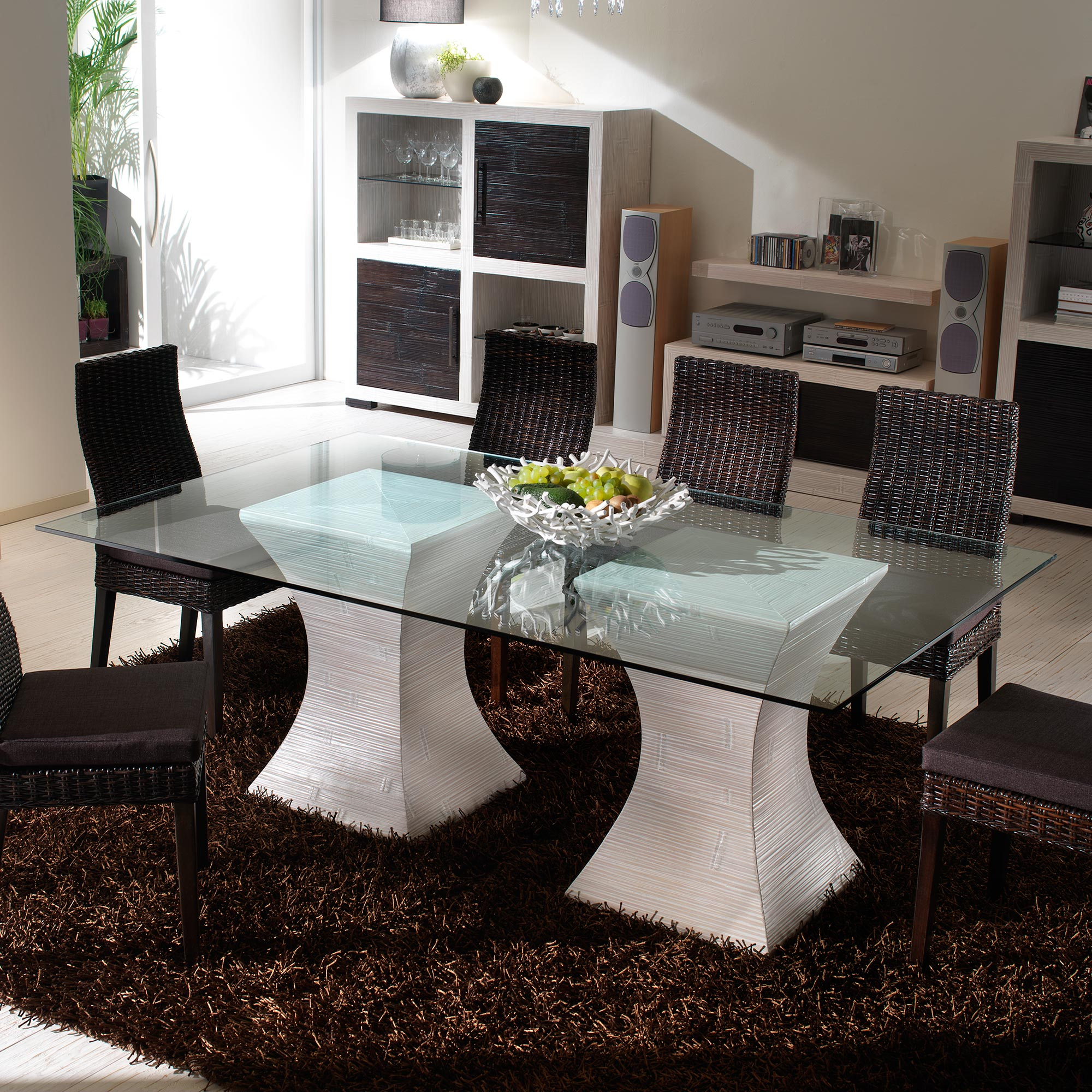 table salle manger moderne blanc c rus dimension 200 100 mod le pacamara. Black Bedroom Furniture Sets. Home Design Ideas