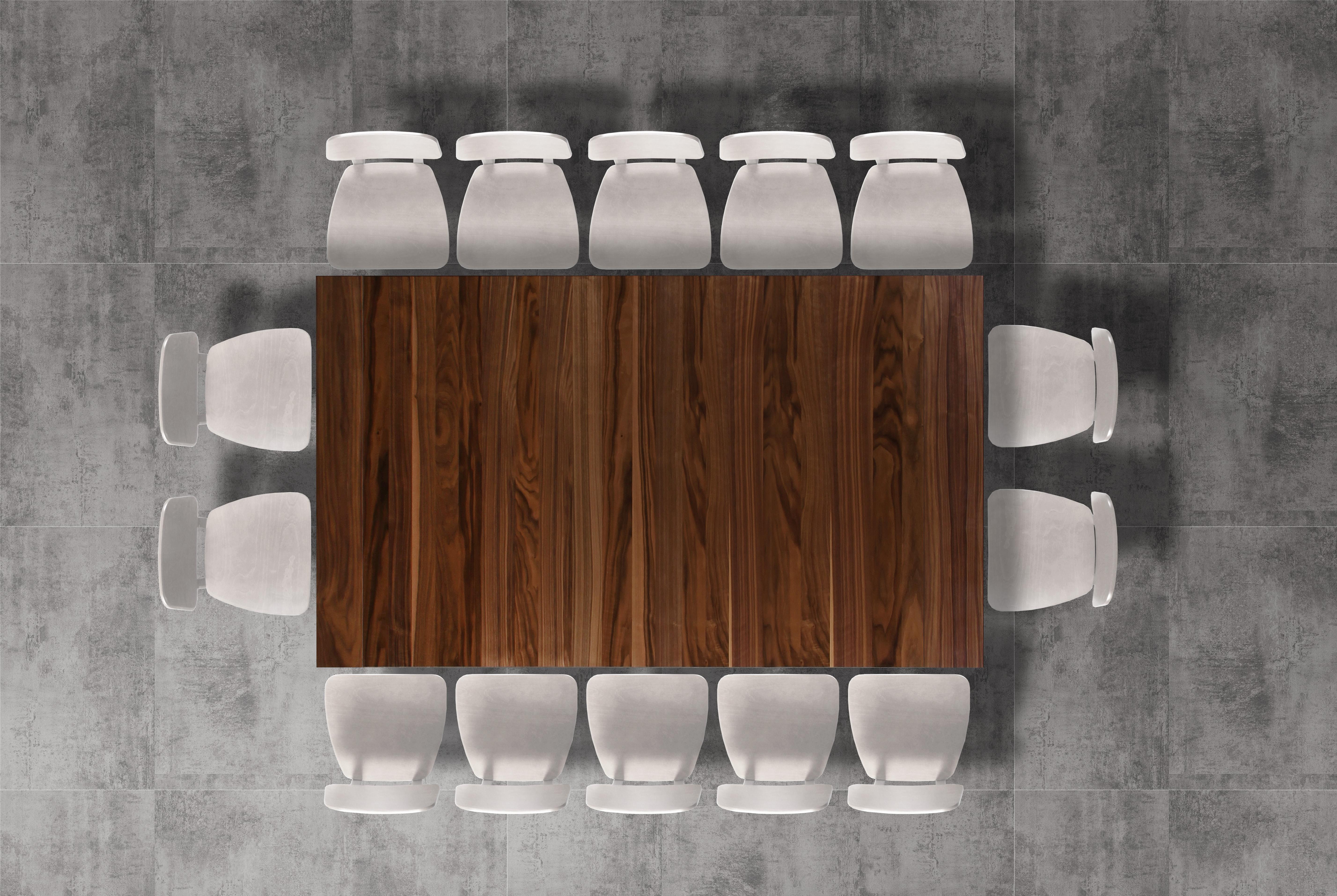 table salle manger noyer avec double rallonge portefeuille largeur 200 300 cm collection mighty. Black Bedroom Furniture Sets. Home Design Ideas