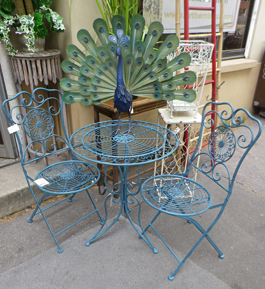 Table de jardin terrasse fer forg bleu for Table de jardin terrasse