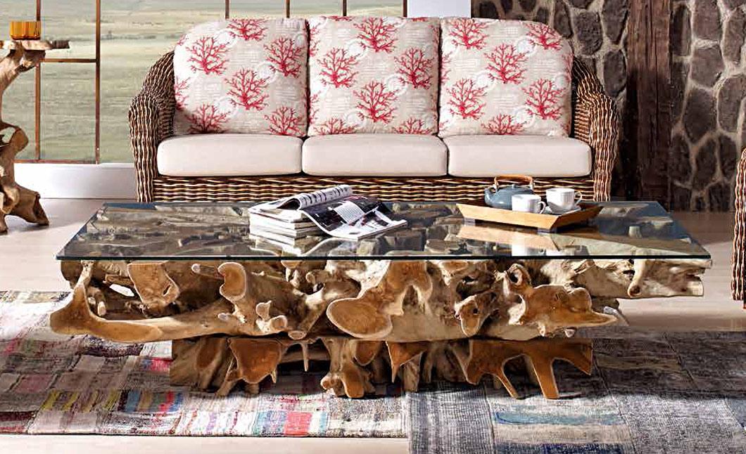 table basse verre sur racine de teck. Black Bedroom Furniture Sets. Home Design Ideas