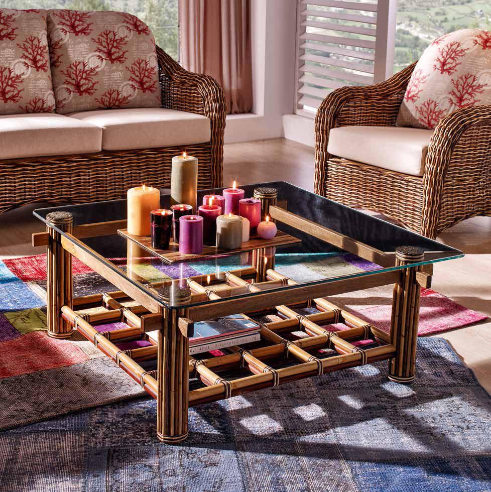 table basse rotin bois et verre 100x100. Black Bedroom Furniture Sets. Home Design Ideas