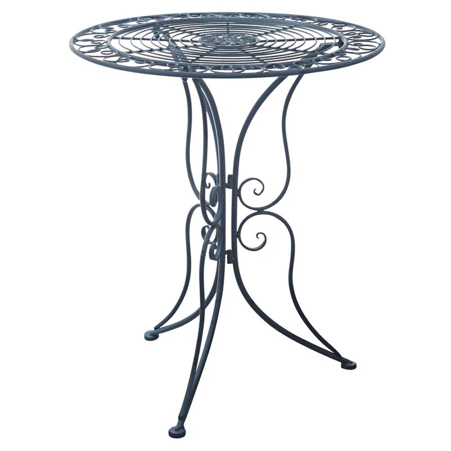 Table de jardin/terrasse fer forgé bleu