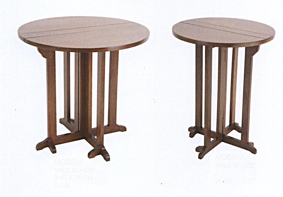 Table ronde D100 bois pied central pliante #5540