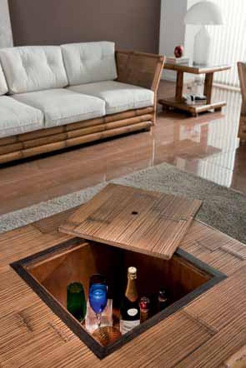 Table basse bambou naturel coffre bar aspect pratique et - Table basse avec bar integre ...