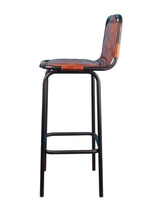 tabouret bar indus assise cuir marron avec dossier 404080 cm - Tabouret De Bar En Cuir