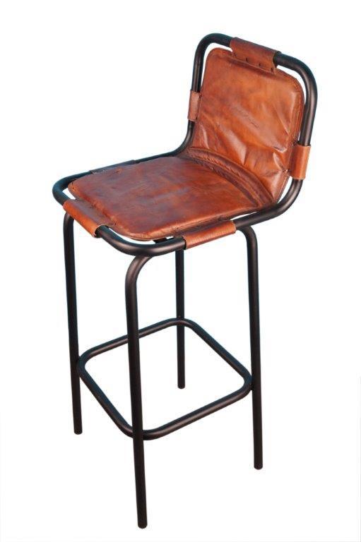 tabouret bar indus assise cuir marron avec dossier 40 40 80 cm. Black Bedroom Furniture Sets. Home Design Ideas
