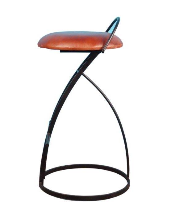 tabouret de bar assise cuir marron 46 76 cm. Black Bedroom Furniture Sets. Home Design Ideas