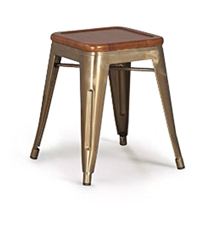 tabouret vintage m tal et bois. Black Bedroom Furniture Sets. Home Design Ideas