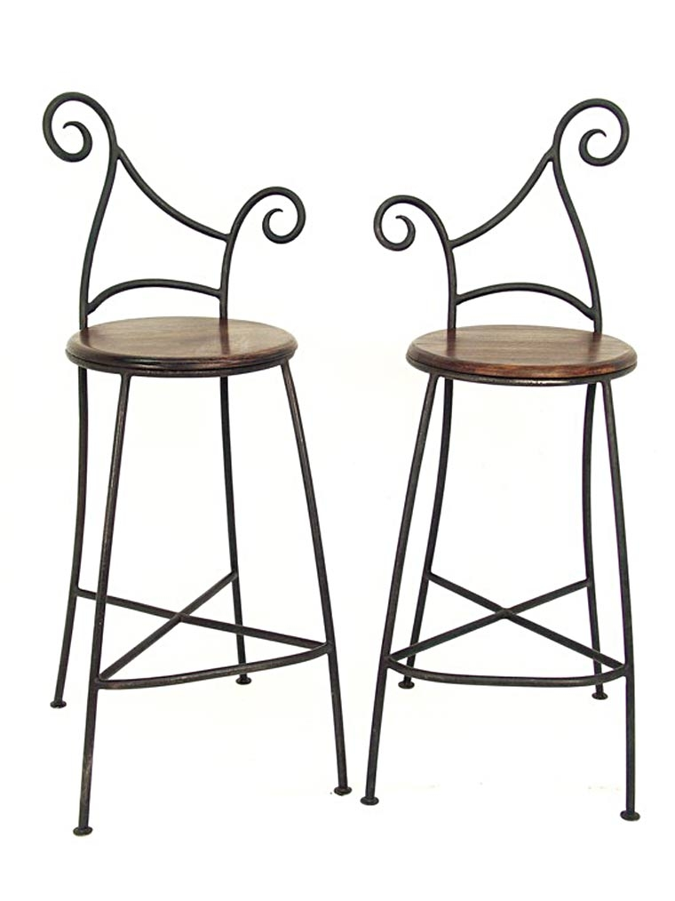 set de 2 tabouret de bar fer bois. Black Bedroom Furniture Sets. Home Design Ideas