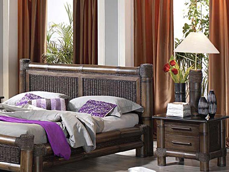 t te de lit bambou rotin 140 cm tropicana 3586. Black Bedroom Furniture Sets. Home Design Ideas