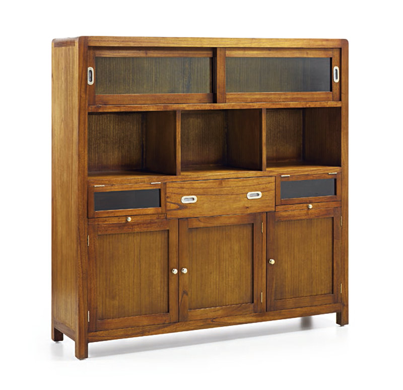 buffet vaisselier vitrine en bois de mindi. Black Bedroom Furniture Sets. Home Design Ideas