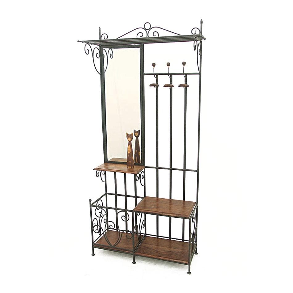 vestiaire meuble d 39 entr e fer forg bois 5119. Black Bedroom Furniture Sets. Home Design Ideas