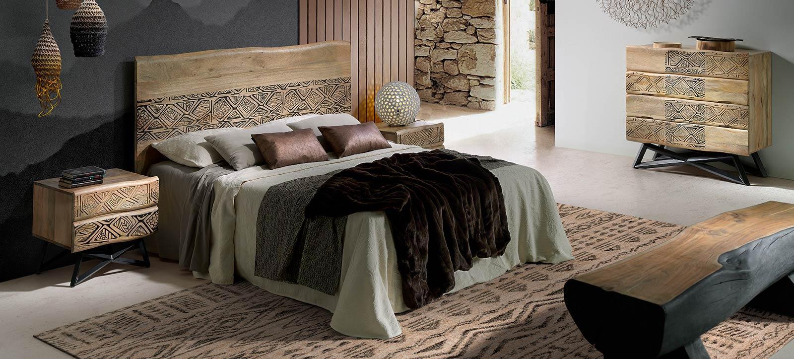 Meuble de rangement pour chambre exotique, lits baldaquin en bois