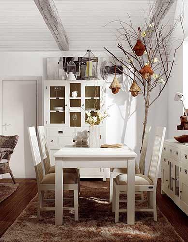 Table de cuisine ou salle à manger blanc laqué, collection Abume