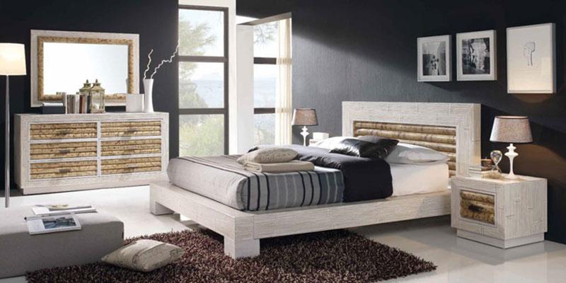 Chambre haut de gamme Rumba version bambou cérusé blanc