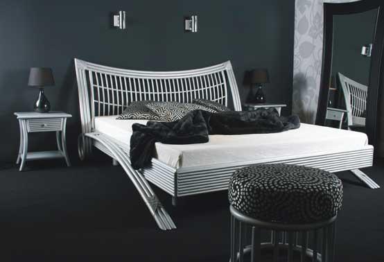 Chambre en rotin patiné argent personnalisable - Voici le lit Rhila