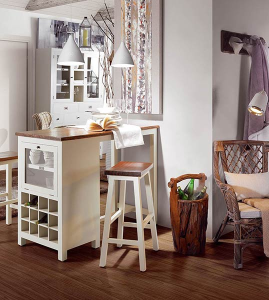 Table de bar Abume en bois blanc laqué