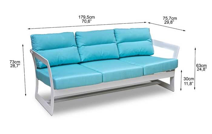 Dimensions complètes canapé 3 places de jardin (croquis)