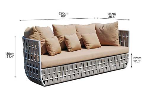 Dimensions complètes canapé 3 places (croquis)
