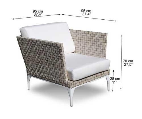 Dimensions complètes fauteuil Amnia (croquis)