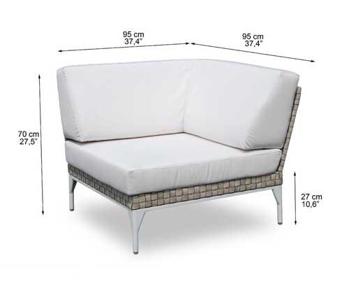 Dimensions complètes du fauteuil d'angle Amnia (croquis)
