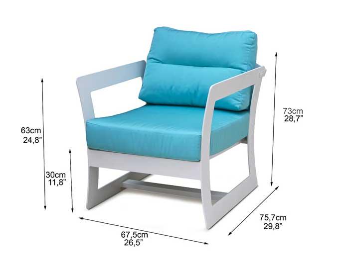 Dimensions complètes fauteuil de jardin design (croquis)
