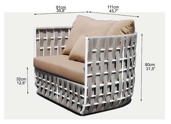 Dimensions complètes fauteuil Irio (croquis)