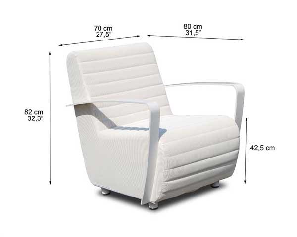 Dimensions complètes fauteuil Pure de Lusso (croquis)