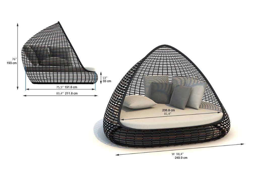 Dimensions complètes lit de jardin Lusso (croquis)